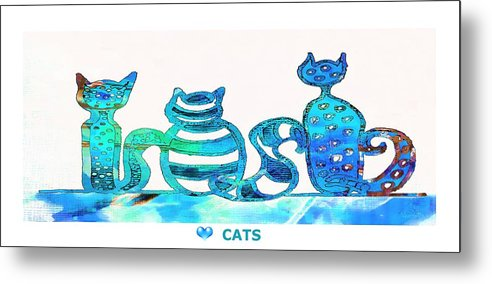 Cats Metal Print featuring the painting Love Cats by Anne Costello