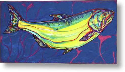 Salmon Metal Print featuring the painting Salmon Of Knowledge by Derrick Higgins