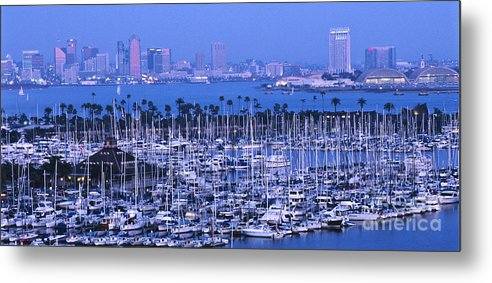 Panoramic Metal Print featuring the photograph San Diego Twilight by Sandra Bronstein