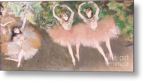 Scene; Ballet; Impressionist; Dance; Dancer; Dancers; Dancing; Ballerina; Ballerinas; Print; Printmaking; Green; Pink; Movement; Grace; Performance; Entertainment; Paris; Parisian; Belle Epoque; Tutu; Tutus; Female; En Pointe; Impressionistic Metal Print featuring the pastel Scene De Ballet by Edgar Degas
