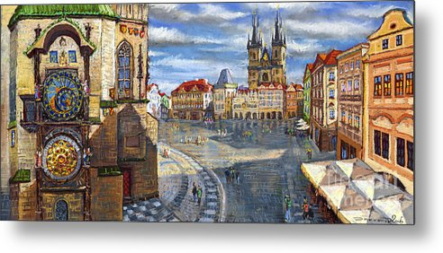 Pastel Metal Print featuring the painting Prague Old Town Squere by Yuriy Shevchuk