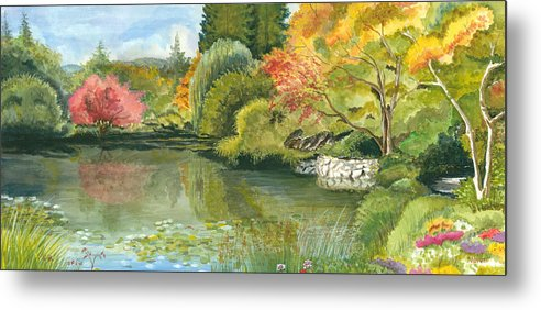 Acrylic Landscape Metal Print featuring the painting Fall Reflections Butchart Gardens by Vidyut Singhal