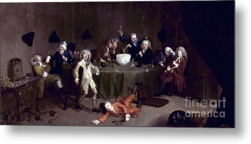 18th Century Metal Print featuring the photograph Hogarth: Midnight, 1731 by Granger