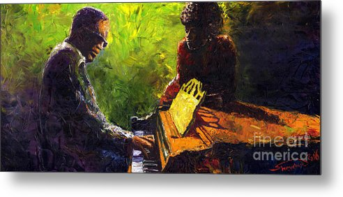 Jazz Metal Print featuring the painting Jazz Ray Duet by Yuriy Shevchuk