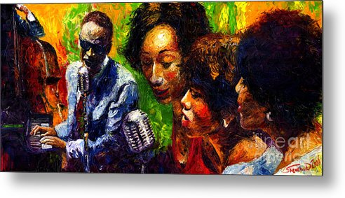 Jazz Metal Print featuring the painting Jazz Ray Song by Yuriy Shevchuk