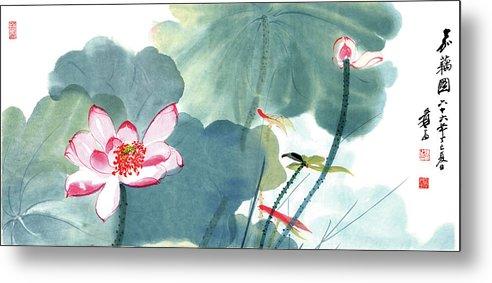 Lotus Plum Peony Flower Metal Print featuring the painting Lotus Figure by Zhang Daqian