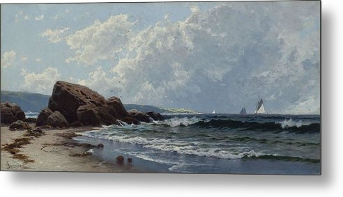 Nature Metal Print featuring the painting Low Tide, Hetherington's Cove, Grand Manan By Alfred Thompson Bricher by Alfred Thompson Bricher
