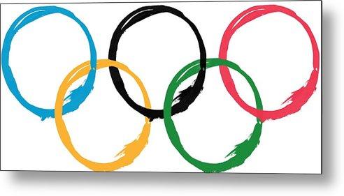 Olympics Metal Print featuring the digital art Olympic Ensos by Julie Niemela
