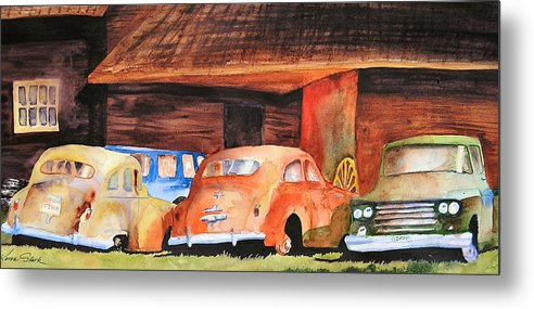 Car Metal Print featuring the painting Rusting by Karen Stark