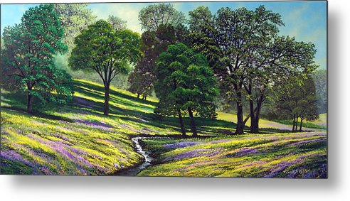 Landscape Metal Print featuring the painting Spring Bloom Table Mountain by Frank Wilson