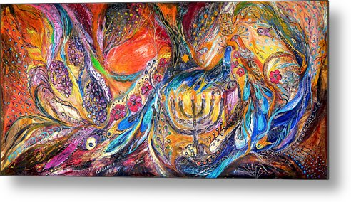Original Metal Print featuring the painting The Light Of Menorah by Elena Kotliarker