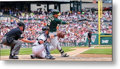 People Metal Print featuring the photograph Oakland Athletics V Detroit Tigers 1 by Leon Halip