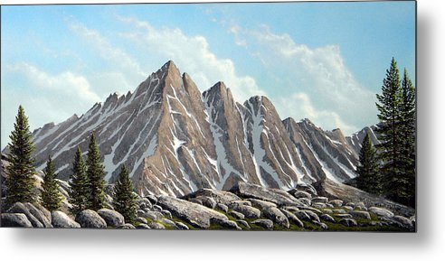 Landscape Metal Print featuring the painting Lofty Peaks by Frank Wilson