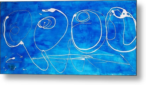 Blue Metal Print featuring the drawing Blue Roses by PC Pride
