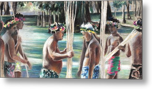Travel Metal Print featuring the painting Polynesian Men With Spears by Miki De Goodaboom