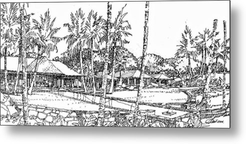 Simple Linework Hawaiian Residence Lanscape Metal Print featuring the drawing Kukio Estate by Andrew Drozdowicz
