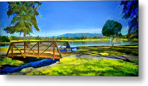 West Van Nuys Lake Balboa California Bridge Trees Stream Green Grass Blue Sky Metal Print featuring the photograph Lake Balboa Bridge by Chris Yarzab