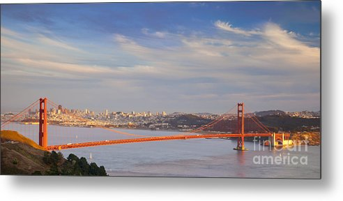 Golden Metal Print featuring the photograph Late Evening Over San Francisco by Brian Jannsen