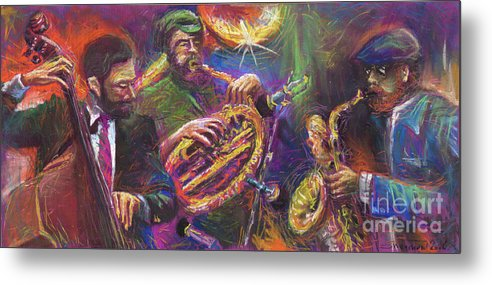 Jazz Metal Print featuring the painting Jazz Jazzband Trio by Yuriy Shevchuk