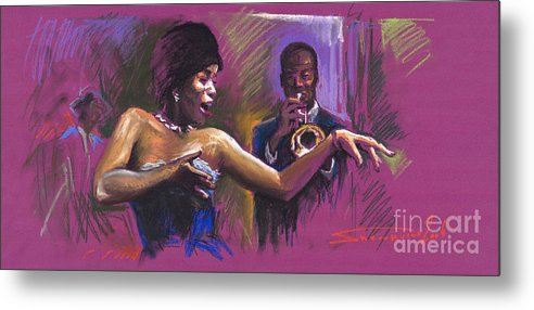 Jazz Metal Print featuring the painting Jazz Song.2. by Yuriy Shevchuk
