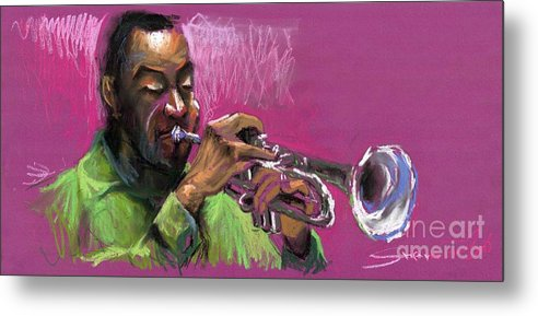 Jazz Metal Print featuring the painting Jazz Trumpeter by Yuriy Shevchuk
