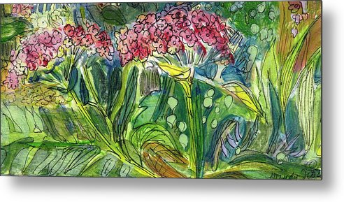 Art Metal Print featuring the drawing Piinta The Butterfly Flower by Mindy Newman
