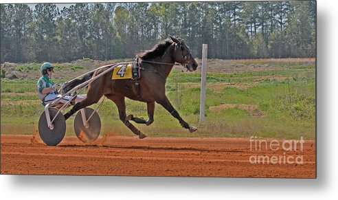 Harness Racing Metal Print featuring the photograph At The Three Quarter Mile Post by Donna Brown