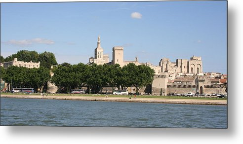 City Metal Print featuring the photograph Avigon View From River Rhone by Christiane Schulze Art And Photography