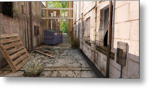 Back Metal Print featuring the digital art Back Alley Texas by Brian Warner