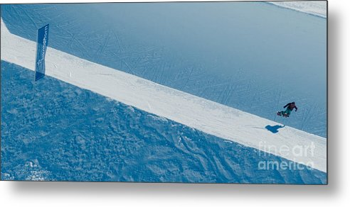 Snowboarder Metal Print featuring the photograph Jakobshorn Air Snowboarder Halfpipe Davos by Andy Smy