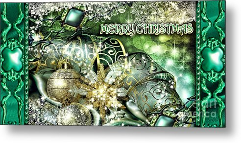 Merry Christmas Metal Print featuring the digital art Merry Christmas Green by Mo T