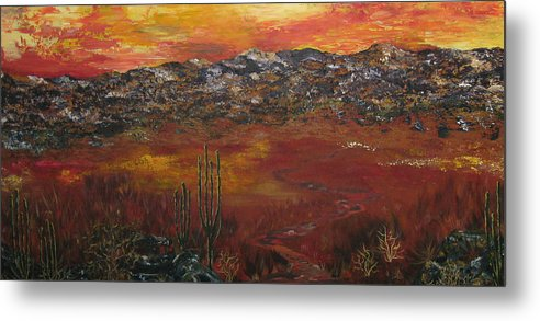 Mystic Desert Metal Print featuring the painting Mystic Desert by Linda Eversole
