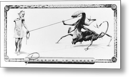 Child Metal Print featuring the drawing Pleasure In Danger by Vincent Jimenez