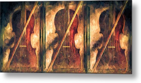 Violins Metal Print featuring the painting Three Violins by Bob Orsillo
