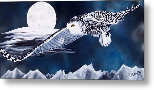 Owl Metal Print featuring the painting Snowy Flight by Debbie LaFrance