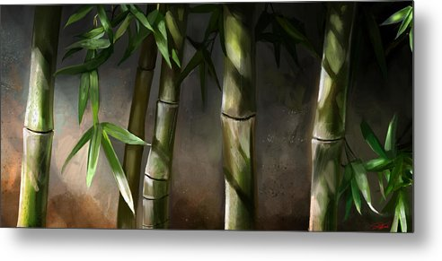 Bamboo Art Metal Print featuring the mixed media Bamboo Stalks by Steve Goad