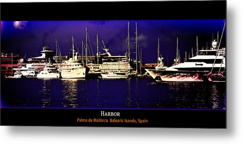 Balearic Islands Island Mallorca Palma Marina Red Lake Gallery Blue Orange Colorful After Bobovisce Reflection Square Spain Sea Blue Mediterranen Boat Ship Yacht Sail Seascape Metal Print featuring the photograph In Harbor by Gennadiy Golovskoy