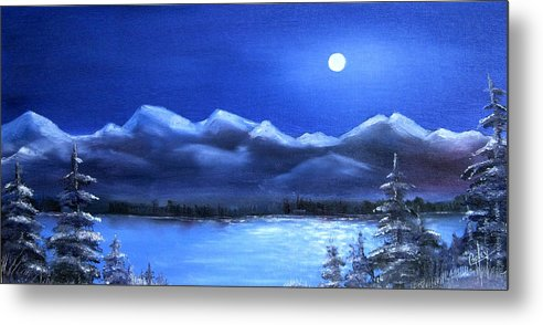 Moonlight Metal Print featuring the painting Moonlight Over The Chugach by Karen Copley
