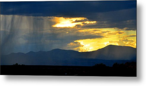 New Mexico Metal Print featuring the photograph Rainstorm Over Mesas by Susanne Still