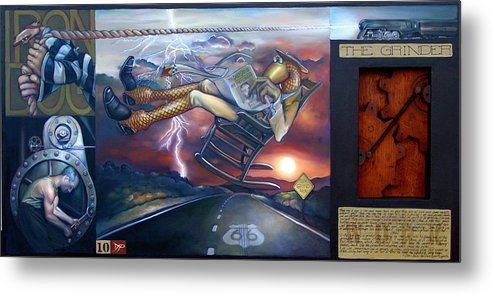 Gear Metal Print featuring the painting The Grinder by Patrick Anthony Pierson
