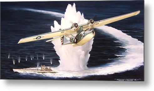 Military Metal Print featuring the painting Caught On The Surface by Marc Stewart