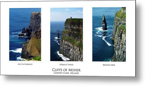 Irish Metal Print featuring the photograph Cliffs Of Moher Ireland Triptych by Teresa Mucha