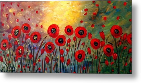 Flowers Metal Print featuring the painting Fall Time Poppies by Luiza Vizoli
