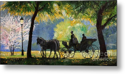 Oil Metal Print featuring the painting Germany Baden-baden Lichtentaler Allee Spring by Yuriy Shevchuk