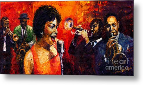 Jazz.song.trumpeter Metal Print featuring the painting Jazz Song by Yuriy Shevchuk