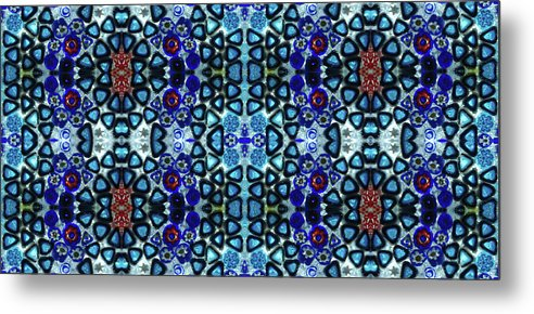 Blue Milan Slices Art Italy Murano Glass Photo In Repeat Mediterranean Metal Print featuring the photograph Mediterranean Blue by Original Digital