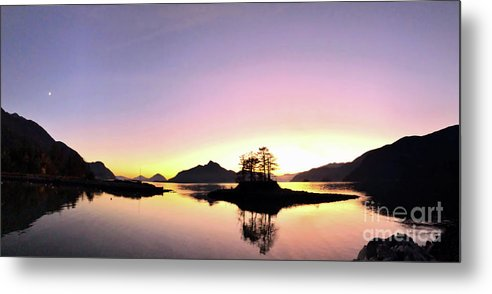 Moonrise Metal Print featuring the photograph Moonrise And Sunset by Victor K