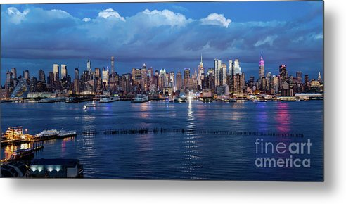 Sunset Metal Print featuring the photograph New York City Nyc At Dusk by Nicholas Laning