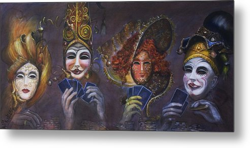 Masks Metal Print featuring the painting Poker Face by Nik Helbig
