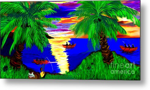 Digital Paintings Metal Print featuring the digital art Rowing On The Sunset by Brenda L Spencer